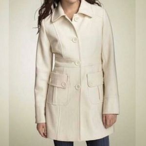 Tulle cream button down wool blend pea coat